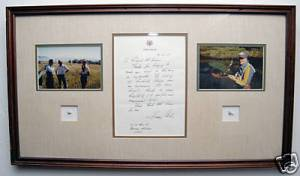 Framed flies and letter by President Jimmy Carter