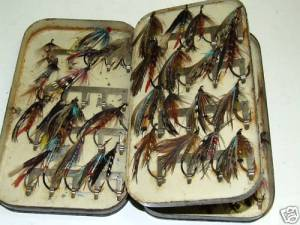 Vintage Fishing Malloch Fly Box and Salmon Flies